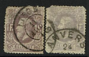 Belgium SC# 36, Used, 2 cancel varieties, both thinned, pulled perfs- Lot 070217