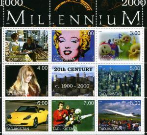 Tajikistan 1999 MILLENNIUM 20th.Century 1900-2000 sheet Perforated Mint (NH)