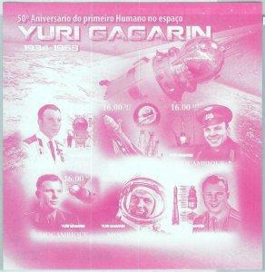 A1279 - MOZAMBIQUE, ERROR, IMPERF, Souvenir sheet: 2011, Astronomy, Yuri Gagarin