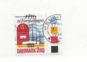 DENMARK, 822, Mailbox, Telegraph Lines, Telephone Single, Used