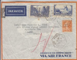 1937, Paris, France to Lima, Peru, See Remark (32212)
