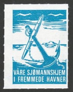 REKLAMEMARKE POSTER STAMP VÅRE SJØMANNSHJEM I FREMMEDE HAVNER 1969 ANCHOR BLUE