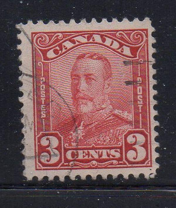 Canada Sc 151 1928 3 c carmine G V scroll issue stamp used