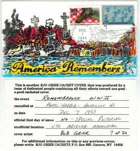 Handpainted Patriotic Event USS ARIZONA MEMORIAL Pearl Harbor Hawaii 20 Made