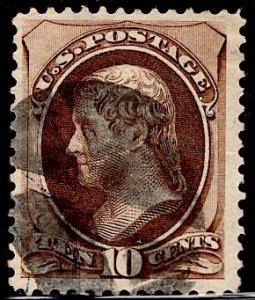 US Stamp #161 10c Brown Jefferson USED SCV $25