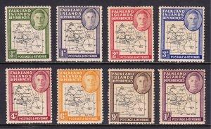 Falkland Islands - Scott #1L1-1L8 - MH - Heavily toned, a few faults - SCV $18