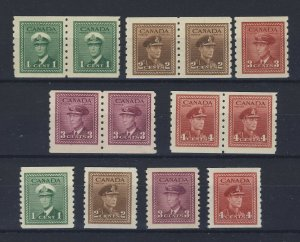 13x Canada George VI WW2 Coil stamps 4x Pairs 5x Singles Guide Value = $130.00