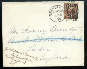 U.S. 5 Cent 1st Bur. Iss. on Cover to London, England
