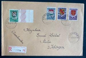 1941 Eernegem Belgium First Day Registered Cover To Jehtegem Winter Relief Stamp