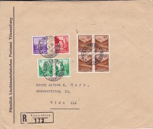 Liechtenstein 1935 25r Saminatal Zum. 110 + 109 FDI Block of Four  Large Cover.