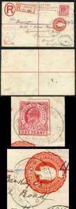 Gibraltar KEVII 2d red registered P/S envelope (size G) uprated to England