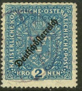 AUSTRIA 1918-19 2K ARMS Perf. 11 1/2 German Austria Overprint Issue Sc 196c VFU