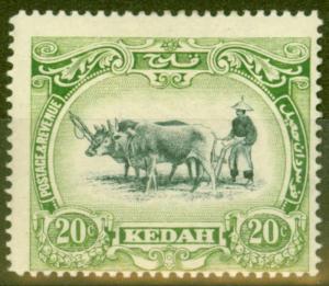 Kedah 1912 20c Black & Green SG7 Fine Mtd Mint