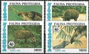 1985 Nicaragua WWF, Tapir, complete set VF/MNH! LOOK!