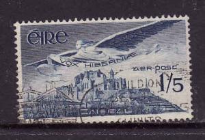 Ireland-Sc#C5-used 1sh green Airmail-Angel over Rock of Cashel-1949-