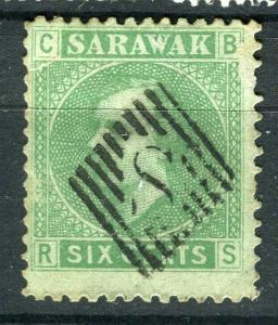 SARAWAK; 1875 early classic C. Brooke issue fine used 6c. value