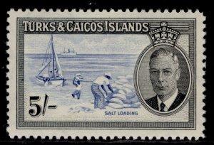 TURKS & CAICOS ISLANDS GVI SG232, 5s blue & black, M MINT. Cat £27.