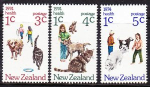 New Zealand SC#B89-B91-B90 Dogs & Cats (1974) MNH