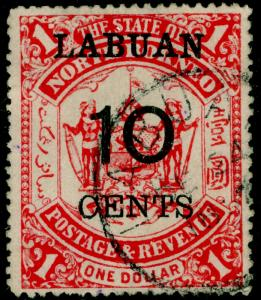 LABUAN SG76, 10c on $1 scarlet, USED.