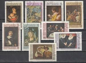 Aden-Mahra, Mi cat. 48-56 A. Famous Paintings issue. Canceled. *