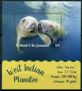 St Vincent & Grenadines 2019 MNH West Indian Manatee 1v S/S Wild Animals Stamps