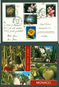 Monaco  Postcard 1981. Soft Corals. Scott #. 1259-61-64-65-67. Address: Sweden