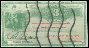 1933 SERIES, ILLUSTRATED 3 GALLONS DISTILLED SPIRITS CASE STAMP, KENTUCKY USAGE!