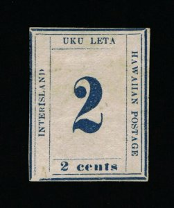 GENUINE HAWAII SCOTT #26 VF-XF MINT NGAI 1865 DARK BLUE WOVE PAPER PLATE 10A-3-7