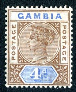 Gambia 1898 QV. 4d brown & blue. Mint. LH. SG42.