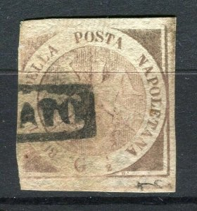 ITALY; NAPLES 1858 early classic Imperf issue fine used SHADE of 1/2gr. value