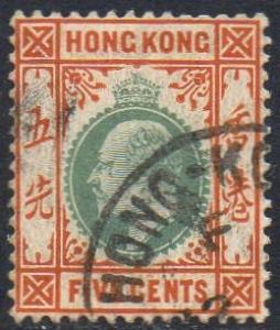 Hong Kong 1906 5c dull green and brown-orange used