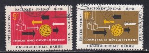 United Nations - New York # 129-130, Trade & Development Conf., Used, 1/3 Cat.