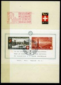Switzerland, 1942 Pro Patria Souvenir Sheet, PTT First Day Folder, superb