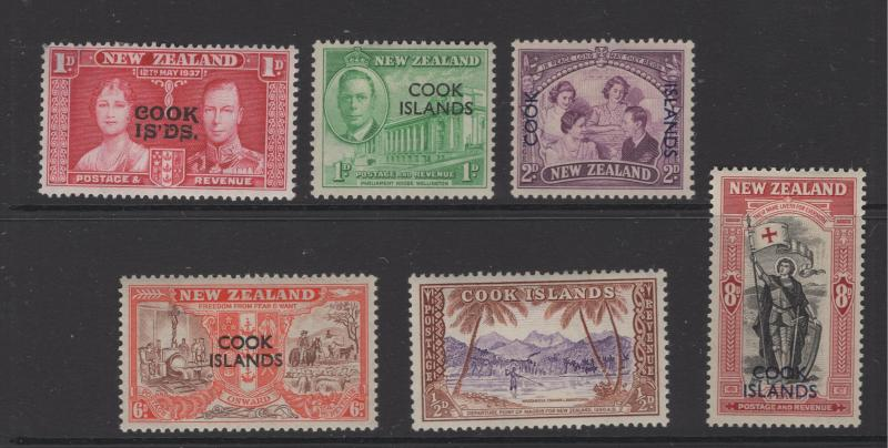Cook Island 1937 - 49 OVP on New Zealand Stamps Selection 6 Stamps MH