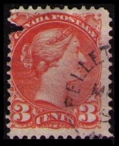 CANADA 1888 QUEEN VICTORIA VINTAGE 3c VERMILLON #41 USED SEE SCAN (V798H)