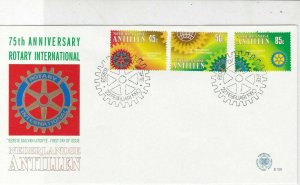 Netherlands Antillen 1980 75th Ann Rotary Slogan Cancel FDC Stamps CoverRef25220