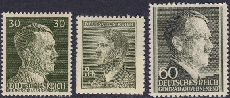 Stamp Selection Germany WWII 3rd Reich Hitler Head Bohemia GG Poland 30pf 2 MH