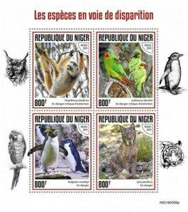 Niger - 2019 Endangered Species - 4 Stamp Sheet - NIG190309a