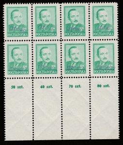 POLAND 1950 BIERUT GROSZY OVPT Type 2A GDANSK PURPLE MNH BIG MARGIN 8-bl. SIGNED