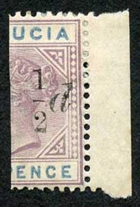 St Lucia SG54 1/2d on Half a 6d Fresh M/Mint