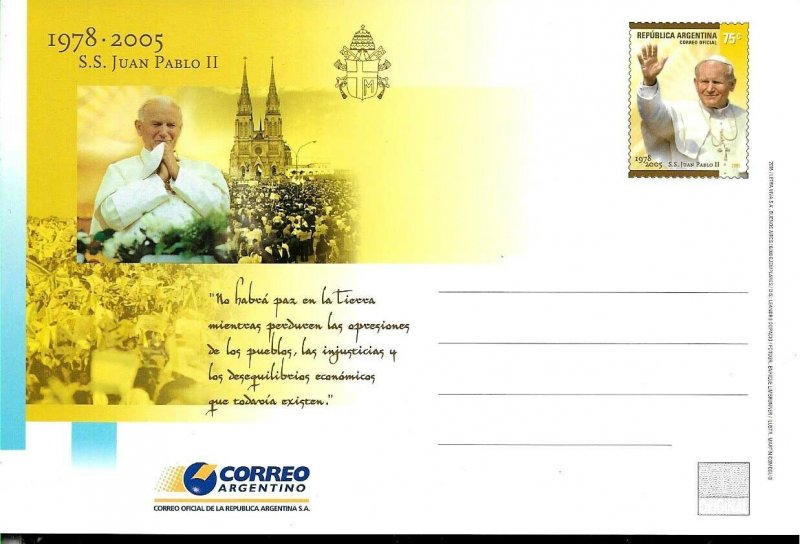 PS-164 ARGENTINA 2005 P STATIONARY RELIGION IN HONOUR POPE JUAN PABLO II UNUSED