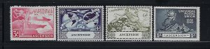 ASCENSION IS. SCOTT #57-60 1949 UPU ISSUE MINT LIGHT HINGED