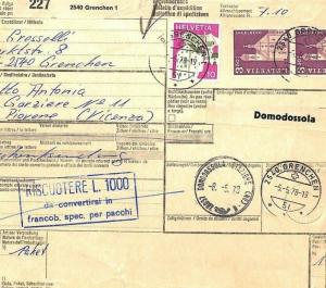 AZ316 1978 Switzerland HIGH VALUES Grenchen *Insured Mail* Card Italy PTS