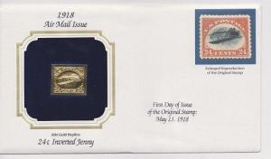 24 Cent  Inverted Jenny Airmail Gold Replica Cover