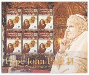 Dominica - Pope John Paul II Memorial Stamp Sheet DOM0510