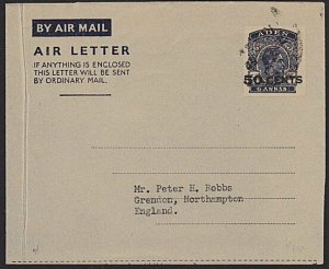 ADEN GVI 50 CENTS on 6a airletter used to UK................................6627
