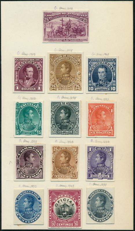 VENENZUELA #74P3//83P3;136P3,O5P3 COLUMBUS ABNCo PLATE PROOFS ON INDIA HV5311