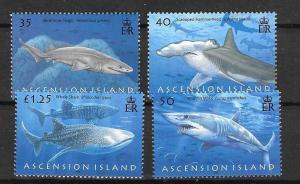 ASCENSION SG999/1002 2008 SHARKS MNH
