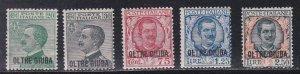 Oltre Giuba # 16-20, Italian Stamps Overprinted, Hinged, 1/2 Cat.