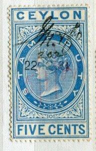 CEYLON; 1870s early classic QV Reveue issue fine used 5c. value